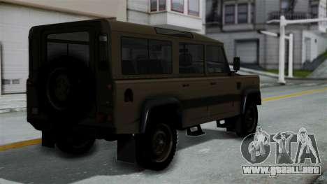 Land Rover Defender Vojno Vozilo para GTA San Andreas left