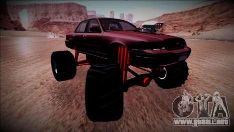 2003 Ford Crown Victoria Monster Truck para GTA San Andreas vista posterior izquierda