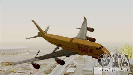 GTA 5 Jumbo Jet v1.0 Adios Airlines para GTA San Andreas vista posterior izquierda