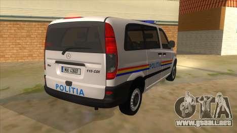 Mercedes Benz Vito Romania Police para la visión correcta GTA San Andreas