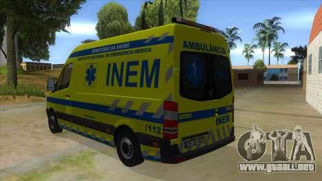 Mercedes-Benz Sprinter INEM Ambulance para GTA San Andreas vista posterior izquierda