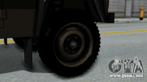 Land Rover Defender Vojno Vozilo para GTA San Andreas vista posterior izquierda