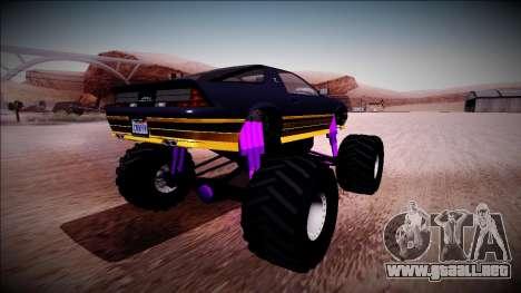 GTA 5 Imponte Ruiner Monster Truck para GTA San Andreas vista posterior izquierda