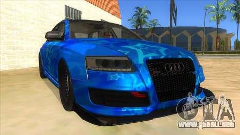 Audi RS6 Blue Star Badgged para GTA San Andreas vista hacia atrás