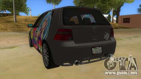 Volkswagen Golf R32 Hatsune Miku Itasha para GTA San Andreas vista posterior izquierda