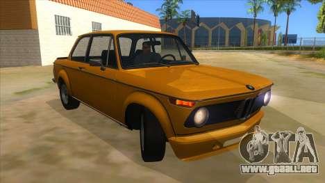 1974 BMW 2002 turbo v1.1 para GTA San Andreas vista hacia atrás