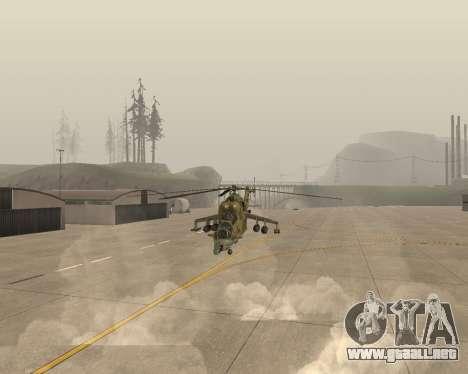 Un Mi-24 En El Cocodrilo para GTA San Andreas vista hacia atrás