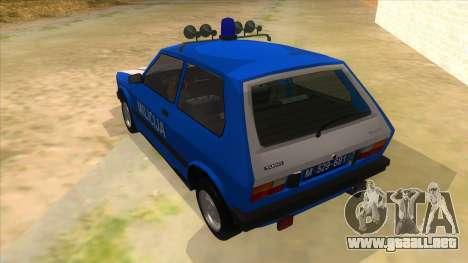 Yugo Koral Police para GTA San Andreas vista posterior izquierda