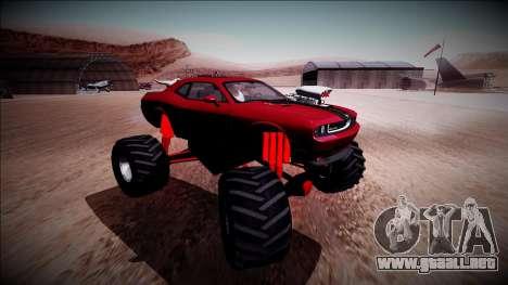 2009 Dodge Challenger SRT8 Monster Truck para visión interna GTA San Andreas