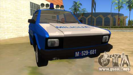 Yugo Koral Police para GTA San Andreas vista hacia atrás