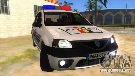 Dacia Logan Romania Police para GTA San Andreas vista hacia atrás