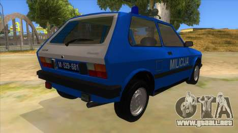 Yugo Koral Police para la visión correcta GTA San Andreas