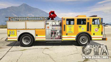 GTA 5 Los Angeles Fire Truck vista lateral izquierda