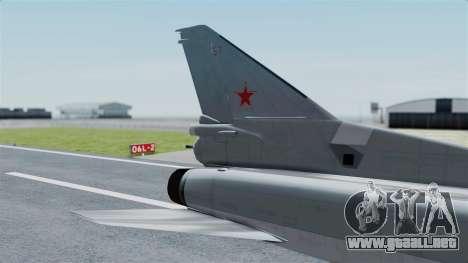 TU-22M3 Gris para GTA San Andreas vista posterior izquierda