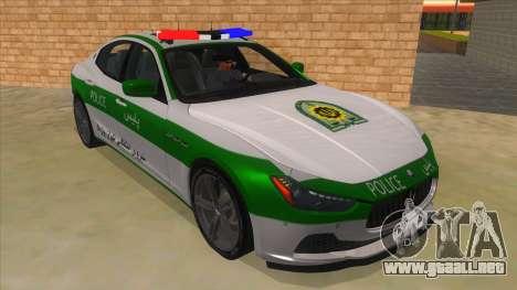 Maserati Iranian Police para GTA San Andreas vista hacia atrás