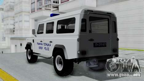 Land Rover Defender Serbian Border Police para GTA San Andreas left