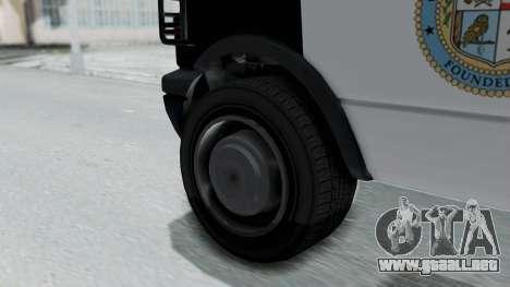 GTA 5 Declasse Burrito Police Transport IVF para GTA San Andreas vista posterior izquierda