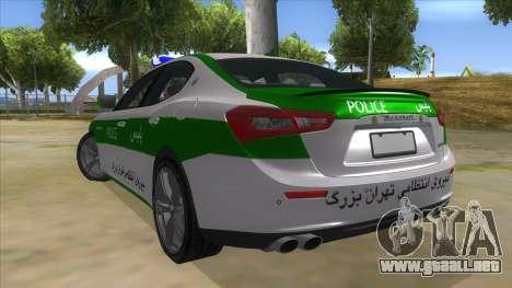 Maserati Iranian Police para GTA San Andreas vista posterior izquierda