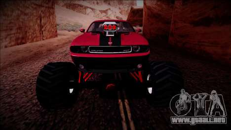 2009 Dodge Challenger SRT8 Monster Truck para vista inferior GTA San Andreas