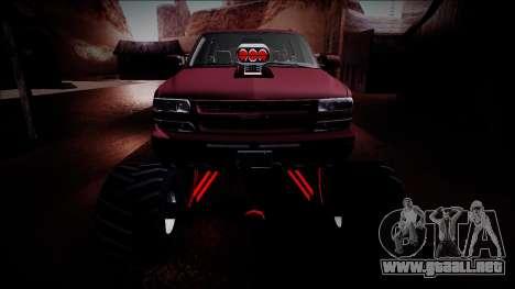 2003 Chevrolet Suburban Monster Truck para la vista superior GTA San Andreas