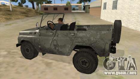 UAZ-469 Old Green Rust para GTA San Andreas left