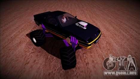 GTA 5 Imponte Ruiner Monster Truck para GTA San Andreas vista hacia atrás