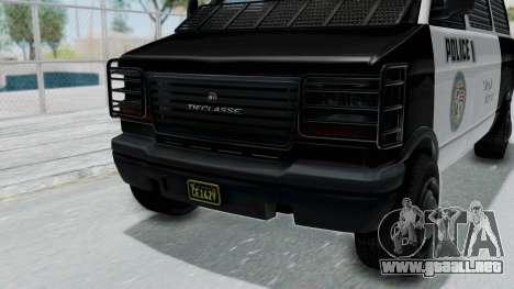 GTA 5 Declasse Burrito Police Transport IVF para GTA San Andreas vista hacia atrás