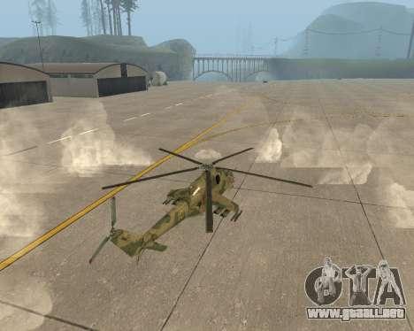 Un Mi-24 En El Cocodrilo para GTA San Andreas vista posterior izquierda