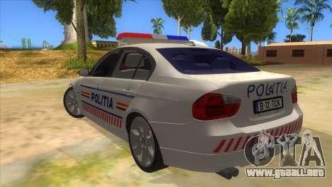 BMW 330XD Romania Police para GTA San Andreas vista posterior izquierda