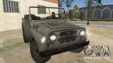 UAZ-469 Old Green Rust para GTA San Andreas vista hacia atrás