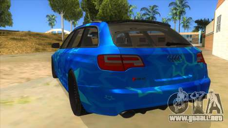 Audi RS6 Blue Star Badgged para GTA San Andreas vista posterior izquierda