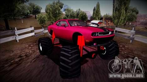 2009 Dodge Challenger SRT8 Monster Truck para la visión correcta GTA San Andreas