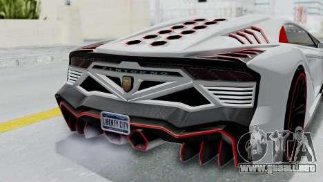 GTA 5 Zentorno Tron para GTA San Andreas vista hacia atrás