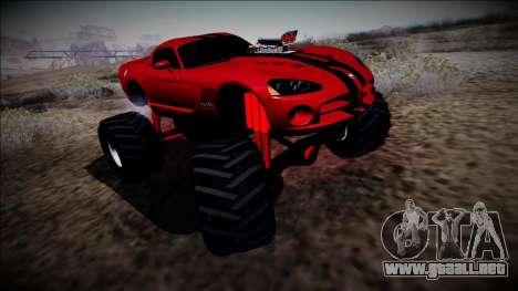 Dodge Viper SRT10 Monster Truck para GTA San Andreas vista posterior izquierda