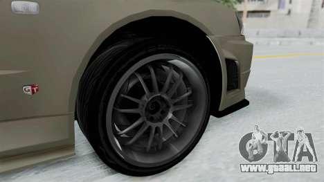 Nissan Skyline GT-R R34 2002 F&F4 Damage Parts para GTA San Andreas vista posterior izquierda