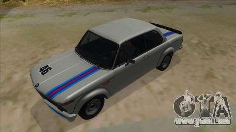 1974 BMW 2002 turbo v1.1 para la vista superior GTA San Andreas