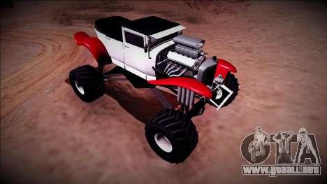GTA 5 Albany Franken Stange Monster Truck para GTA San Andreas vista hacia atrás