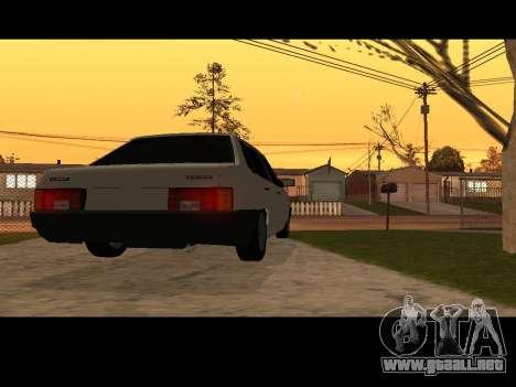 VAZ 21099 Coche Sin Red de Aterrizaje para GTA San Andreas vista posterior izquierda
