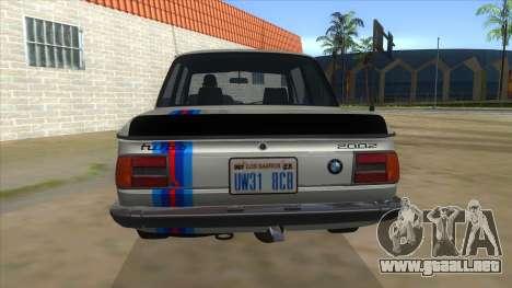 1974 BMW 2002 turbo v1.1 para vista inferior GTA San Andreas