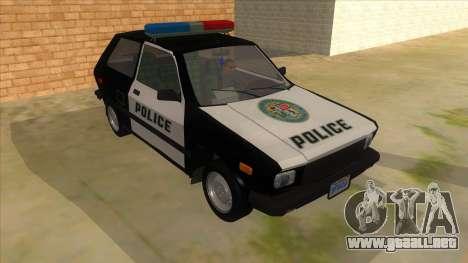 Yugo GV Police para GTA San Andreas vista hacia atrás