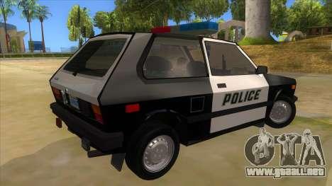 Yugo GV Police para la visión correcta GTA San Andreas