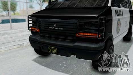 GTA 5 Declasse Burrito Police Transport IVF para visión interna GTA San Andreas