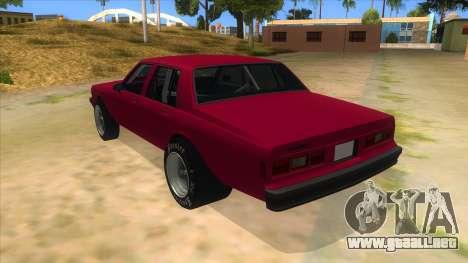 1984 Chevrolet Impala Drag para GTA San Andreas vista posterior izquierda