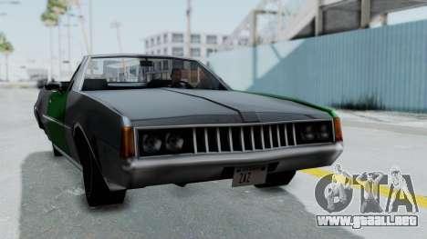 Clover Cabrio para GTA San Andreas vista posterior izquierda