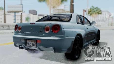 Nissan Skyline GT-R R34 V-spec 1999 para GTA San Andreas left