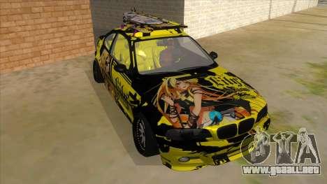 BMW M3 E46 Lily Itasha para GTA San Andreas vista hacia atrás