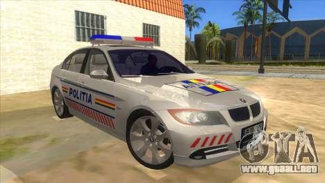 BMW 330XD Romania Police para GTA San Andreas vista hacia atrás
