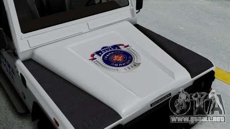 Land Rover Defender Serbian Border Police para GTA San Andreas vista hacia atrás