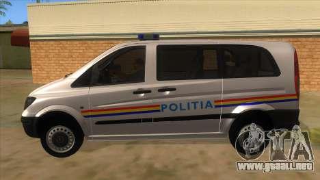 Mercedes Benz Vito Romania Police para GTA San Andreas left