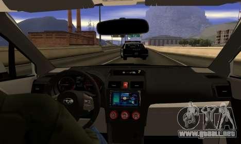 Subaru WRX STI 2015 para visión interna GTA San Andreas